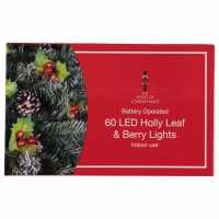 The Spirit Of Christmas 60 Led Holly Leaf And Berry Lights Red Коледна украса