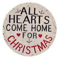 The Spirit Of Christmas Hearts Come Home Plaque - Коледна украса