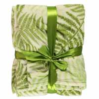 Linens And Lace Leaves Throw Green