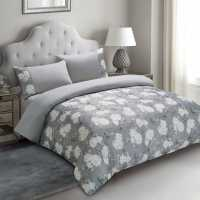 Linens And Lace Printed Jacquard Duvet Cover Set Grey Floral Домашни стоки