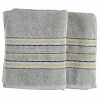 Linens And Lace Border Stitch Towel Grey Хавлиени кърпи