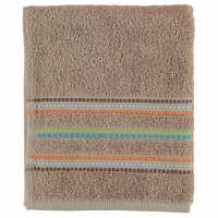 Linens And Lace Border Stitch Towel Seventies Taupe Хавлиени кърпи