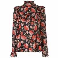 Blue Chameleon Chemeleon Floral Ruffle Blouse Ladies Blk/Red Дамски ризи и тениски