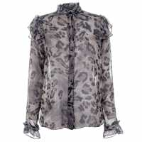 Blue Chameleon Womens Leopard Blouse Grey Дамски ризи и тениски