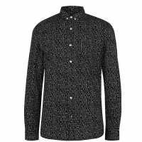 Lambretta Мъжка Риза Shirt Mens Black Мъжко облекло за едри хора