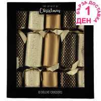 The Spirit Of Christmas Коледни Крекери 10 Deluxe Crackers Black/Gold/Crea Коледна украса