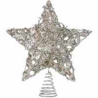 Unknown Коледна Звезда Silver Glitter Tree Topper N/A