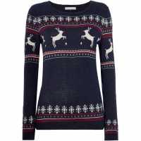 Maison De Nimes Festive Moose Jumper Navy Коледни пуловери