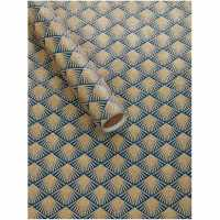 Unknown Navy And Champagne Gold Fan 2M Wrapping Paper N/A
