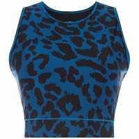 Biba Shiny Oversized Leopard Print Crop Top Blue Дамски дрехи за бягане
