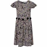 Rose And Wilde Piper Animal Print Pom Pom Dress Black Детски поли и рокли
