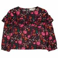 Rose And Wilde Printed Floral Blouse Burgundy Детски ризи