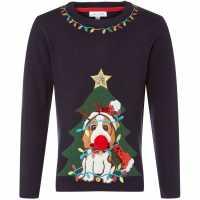 Коледен Пуловер Rose And Wilde Kw Doggy Xmas Jumper Navy Детски плетени пуловери и жилетки