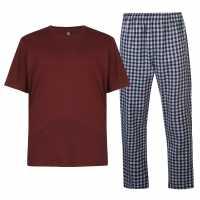 Howick Mens Striped Tartan Pyjama Set Navy Мъжки пижами