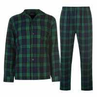 Howick Mens Pyjama Striped Checked Set Navy Мъжки пижами