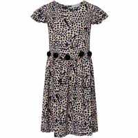 Rose And Wilde Piper Animal Print Pom Pom Dress Black Детски поли и рокли